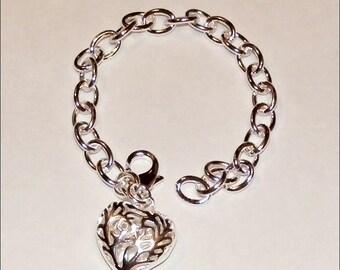 925 SS Plate Heart Bracelet
