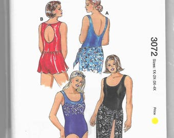 3072 Kwik Sew Swimsuits, Skirt, and Wrap Sewing Pattern Plus Sizes 1X-2X-3X-4X