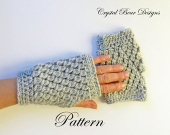 Crochet Fingerless Gloves PATTERN / Texting Gloves / Gauntlets / Arm Warmers / Wristers / One Skein / PDF Instant Download / Made in Canada