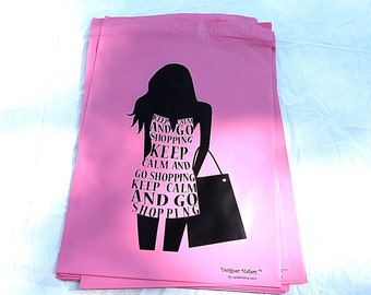"""20Pack 10x13""""  Pink Keep Calm and Shop On Self Sealing Poly Mailing Flat Plastic Shipping Bags Wholesale Colored Mailers, Mailing Bags"""