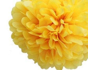 "10"" Yellow Tissue Paper Pom Poms- Medium Paper Flower Pom- Wedding Decoartion- Baby Shower- Bridal Decor- Hanging Room Paper Pom- Lemonade"