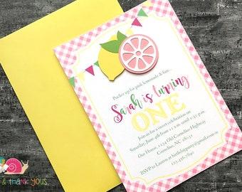 Pink Lemonade Invitations · A6 FLAT · Fuchsia Blossom Pink Sunshine Yellow · Handmade Birthday Party   Baby Shower   Summer Social Invites