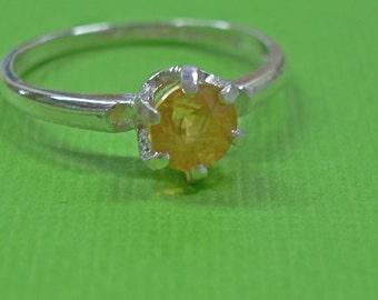 Garnet Ring - Gossular (Yellow) Garnet Ladies 6-Prong Ring - Sterling Silver Ring Size 4 3/4