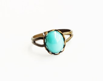 Small Turquoise Aqua Glass Ring Robins Egg Blue Vintage Glass Blue Ring Adjustable Ring