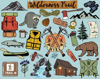 Hiking Clipart, camping clipart, hiking clip art, bullet journal stickers, camping clip art, wilderness clip art, scrapbook stickers,