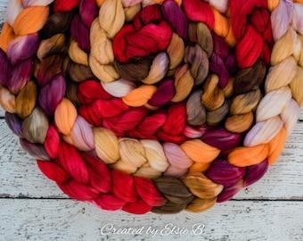 Organic Polwarth/ Silk 'Spice Market' 4 oz wool silk roving, red hand dyed wool, CreatedbyElsieB orange combed top, brown spinning fiber