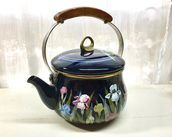 Vintage Enamel Teapot with Wooden Handle. Iris Art. Blue and Pink Irises.