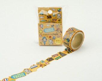 Washi Tape - Let's Go to Travel - Die cut Washi Tape, Masking Tape, Japanese Washi Tape