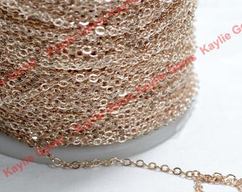 Premium Light Rose Peach Gold Plated Brass Chain Soldered Flat Oval Cross Link Cable Fine  2x2.5mm 12 ft