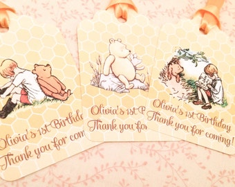 Classic Pooh Favor Thank You Tags-First Birthday Pooh Tags Party Decorations-Set of 12
