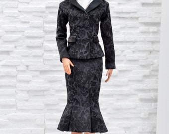 ELENPRIV black jacquard jacket with full satin lining for Tonner Tyler dolls and similar body size dolls
