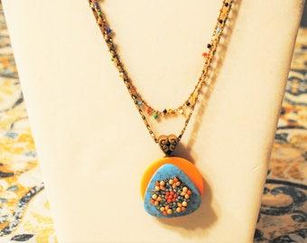 Orange Aqua Button Necklace