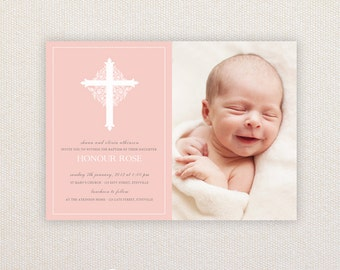 Girls Photo Christening/baptism Invitations. Ornate cross. I Customize, You Print.