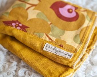 Baby burp cloth - Morning glory mustard yellow hand dyed burp cloth