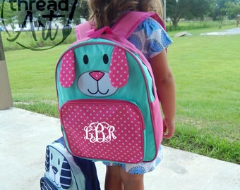 Preschool Puppy Backpack with Monogram or Name Back to School Dog Polka Dot Boy or Girl Pink Teal Navy Light Blue Bag Travel or Diaper Bag