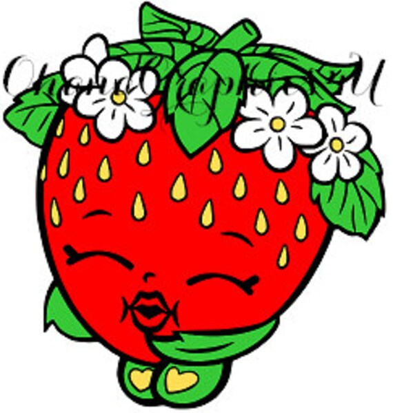 Shopkins Inspired Strawberry Kiss Svg