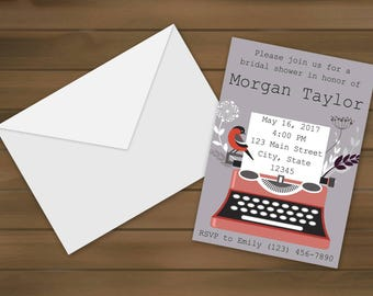 Typewriter Bridal Shower Invitations - Typewriter Invite - Bridal Shower - Floral Bridal Shower - Bridal Shower Invite - Bride -