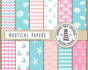 BABY NAUTICAL | Digital Paper Pack | Scrapbook Paper | Printable Backgrounds | 12 JPG, 300dpi Files | BUY5FOR8