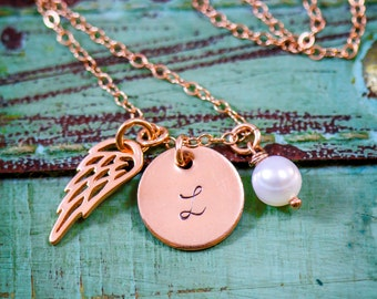 Rose Gold Memorial Necklace • Rose Gold Angel Wing Charm Baby Loss Gift • Sympathy Gift Bereavement Necklace Baby Memorial Gift