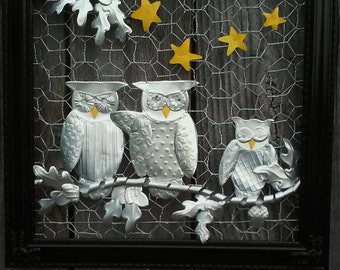 Owls in the Oak Tree Aluminum Soda Can Wall Art