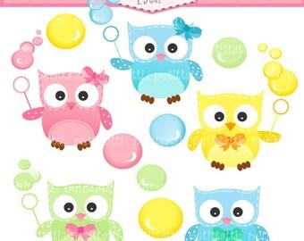 ON SALE owl clip art clipart - baby owls Digital clip art - Owls and bubble, instant download clip art