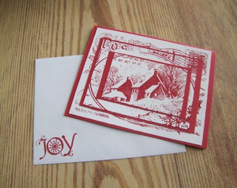 Christmas Cabin Greeting  Handmade Card With Snowflakes ON SALE!!