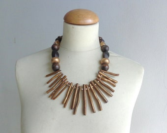 Coral branch necklace, gold branch necklace, brown branch necklace, fan necklace, statement necklace