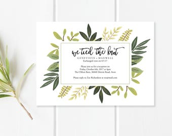 We Tied the Knot Announcement and Reception Printable | We Tied the Knot | Wedding Elopement | PDF Editable Template | Instant Download
