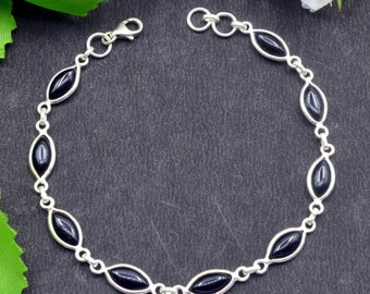 Natural Black Onyx Marquise Gemstone Chain Bracelet 925 Sterling Silver B66