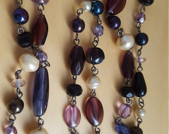 Purple glass bead long necklace