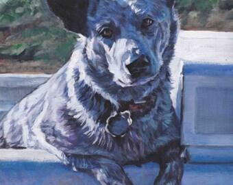 Australian Cattle Dog art Blue Heeler CANVAS print of LA Shepard painting 8x10