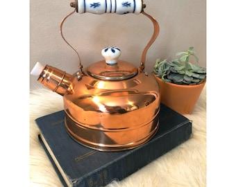 Vintage Copper Tea Kettle/Antique Copper Kettle/Copper Kitchen/Copper Tea Kettle With Porcelain Accents