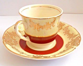 Vintage Midwinter Staffordshire Tea Cup and Saucer Set