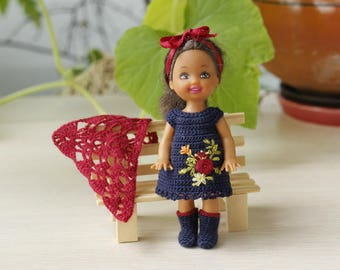 4 inches Kelly doll clothes Crochet miniature dark blue dress with flower embroidery Shawl and boots for miniature 4 inch Kelly doll
