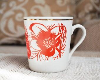 4 floral pattern mug jug cup demitasse flower motif orange gold trim ceramic porcelain milk tea coffee espresso mocha kids tableware soviet