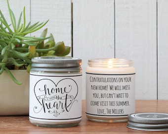 Home is Where the Heart is Candle Gift - Scented Soy Candle Greeting - New Home Gift | Housewarming Gift | Friend Gift | Custom Candle
