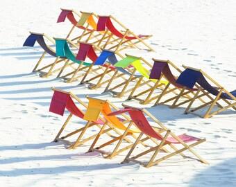 Bondi Deck Chairs  8x12 inch Original Fine Art Photography Print, colour, rainbow, beach, seaside, deck chairs, relax, palette, summer,