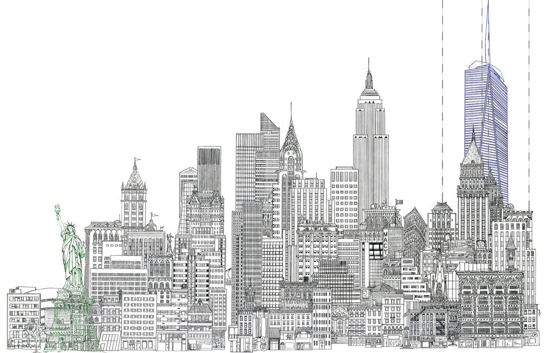 11 x 17 line drawing of new york city skyline with statue of. Black Bedroom Furniture Sets. Home Design Ideas