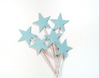 24 Blue Star Cupcake Toppers, Twinkle Little Star Party Decor, Weddings, Showers, Birthdays, Baby, Food Picks
