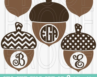 Monogram SVG File Set of 8 cutting files includes svg/png/jpg formats! Commercial use approved! fall svg acorn svg fall monogram chevron svg