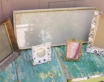 5 Vintage Gold Metal Picture Frames Instant Collection French Country Farmhouse Hollywood Regency Cottage Chic Wedding Picture Frames