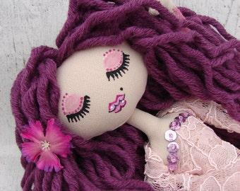Allana, poupée de chiffon (rag doll, handmade doll, ooak doll, art doll)