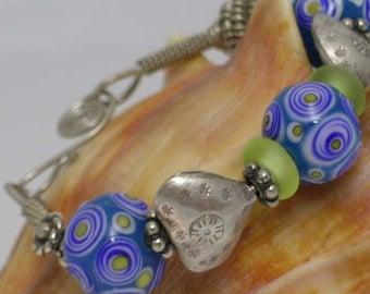Sterling Silver and Lampwork Bracelet