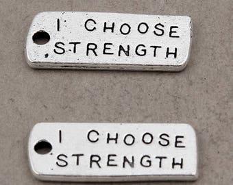 6pcs-I Choose Strength charm- Antique silver tone rectangle tag Charm