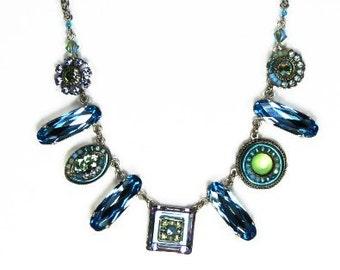 Swarovski Crystal Necklace, blue crystal necklace, Ocean Blue necklace, swarovski blue crystal necklace, Aqua blue necklace, Antique chain