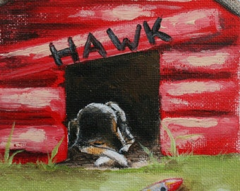 "Rest Time- PRINT 8x10"" dog house, dog, hawk, red, wood, yard"