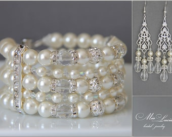 Pearl Bridal Jewelry Set Pearl Cuff Bracelet Long Earrings, Pearl Wedding Jewelry Set, Bridal Pearls, Earrings Bracelet Set art. e16-b10