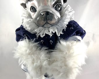 OOAK fine art doll: English Bulldog Puppy in Sailor Pinafore with Patterned Knickers