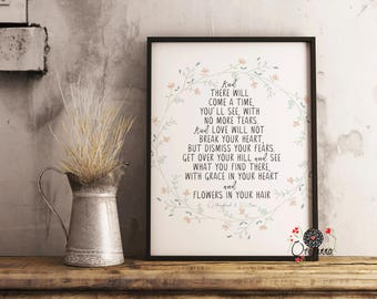 And there will come a time, you'll see, with no more tears-Mumford & Sons lyrics-printable-poster-quote-Lyrics poster-Inspirational wall art