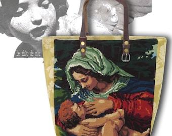 Tapestry Purse, Canvas Handbag Virgin : Le Donatella